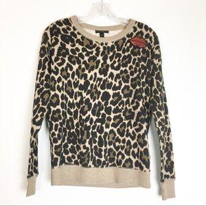 J Crew Leopard Lightweight Sweatshirt Sequin Lips